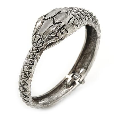 Burn Silver Vintage Inspired 'Snake' Hinged Bangle Bracelet - up to 17cm length