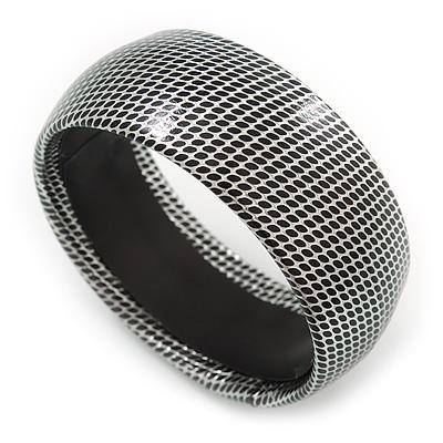 Silver/ Black Snake Print, Leather Style Slip-On Bangle - 19cm Length