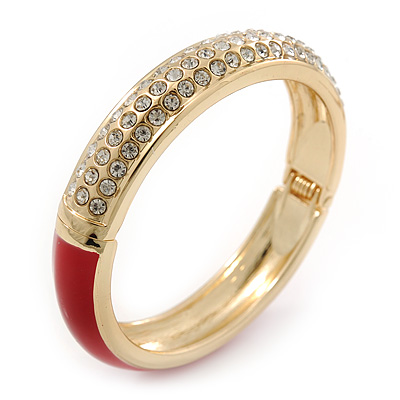 Red Enamel Clear Crystal Hinged Bangle Bracelet In Gold Plating - 19cm Length - main view