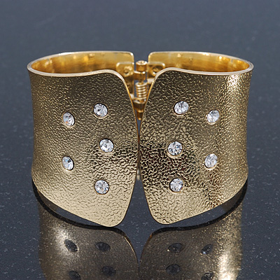 Wide Gold Plated Textured, Crystal Hinged Egyptian Style Bangle Bracelet - 19cm Length