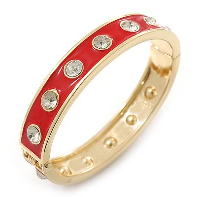 Red Enamel Crystal Hinged Bangle Bracelet In Gold Plating - 19cm Length