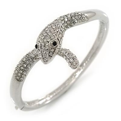 Clear Austrian Crystal Snake Bangle Bracelet In Rhodium Plaiting - 19cm L