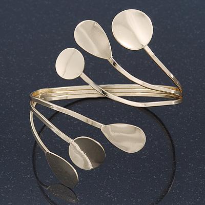 Polished Gold Tone 'Teardrops' Upper Arm, Armlet Bracelet - Adjustable