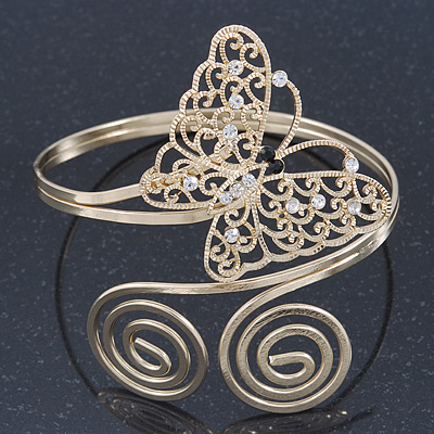 Gold Plated Filigree, Crystal Butterfly & Twirl Upper Arm, Armlet Bracelet - Adjustable