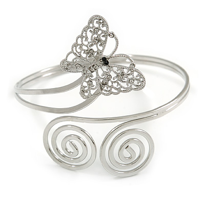 Silver Plated Filigree, Crystal Butterfly & Twirl Upper Arm, Armlet Bracelet - Adjustable