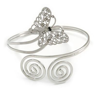 Silver Plated Filigree, Crystal Butterfly & Twirl Upper Arm, Armlet Bracelet - Adjustable