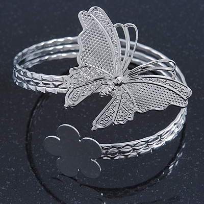 Silver Plated Hammered Butterfly & Flower Upper Arm, Armlet Bracelet - Adjustable - main view