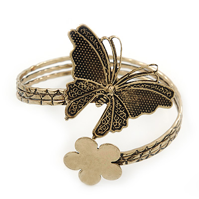 Vintage Inspired Hammered Butterfly & Flower Upper Arm, Armlet Bracelet In Antique Gold Tone - Adjustable