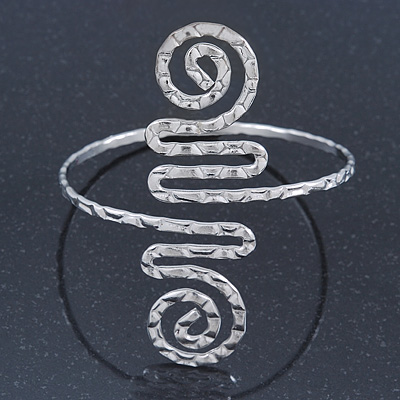 Greek Style Hammered Swirl Upper Arm, Armlet Bracelet In Sivler Plating - Adjustable