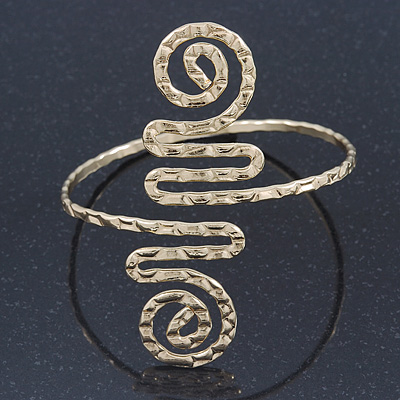 Greek Style Hammered Swirl Upper Arm, Armlet Bracelet In Gold Plating - Adjustable