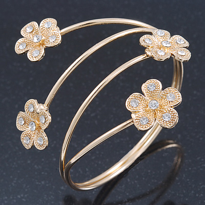 Gold Plated Crystal Daisy Upper Arm, Armlet Bracelet - Adjustable - main view