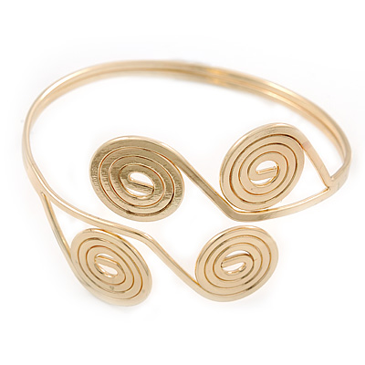 Greek Style Swirl Upper Arm, Armlet Bracelet In Gold Plating - Adjustable