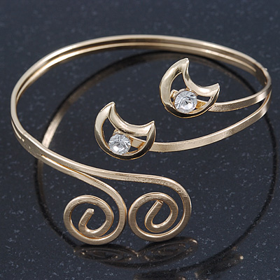 Gold Plated 'Swirl And Crystal Crescent' Upper Arm Bracelet - Adjustable