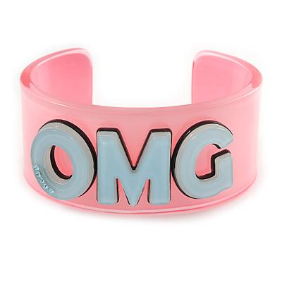 Light Pink/ Pale Blue 'BFF' Acrylic Cuff Bracelet Bangle (Adult Size) - 19cm L