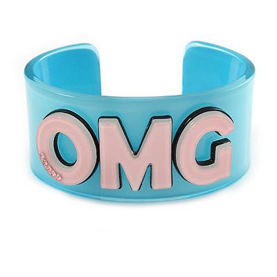 Light Blue/ Pale Pink 'OMG' Acrylic Cuff Bracelet Bangle (Adult Size) - 19cm L