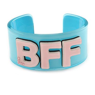Light Blue/ Pale Pink 'BFF' Acrylic Cuff Bracelet Bangle (Adult Size) - 19cm L
