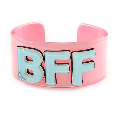 Light Pink/ Pale Blue 'BFF' Acrylic Cuff Bracelet Bangle (Adult Size) - 19cm