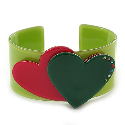 Salad Green, Magenta, Dark Green Acrylic, Austrian Crystal Hearts Cuff Bracelet - 19cm L