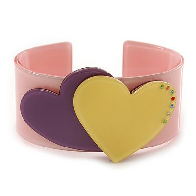 Light Pink, Purple, Yellow Acrylic, Austrian Crystal Hearts Cuff Bracelet - 19cm L