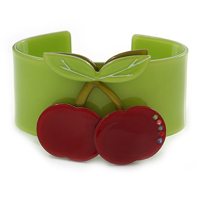 Red, Light Green Austian Crystal Cherry Acrylic Cuff Bracelet - 19cm L