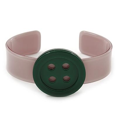 Beige, Dark Green Acrylic Button Cuff Bracelet - 19cm L
