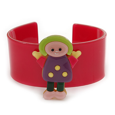 Deep Pink, Purple, Yellow, Light Green Dolly Acrylic Wide Cuff Bracelet - 19cm L