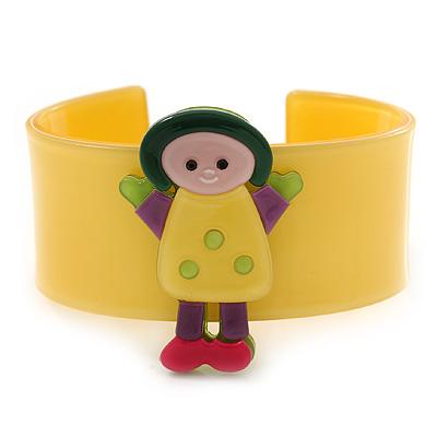 Yellow, Green, Pink, Purple Dolly Acrylic Wide Cuff Bracelet - 19cm L