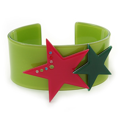 Light Green Acrylic Cuff Bracelet With Crystal Double Star Motif (Deep Pink, Dark Green) - 19cm L