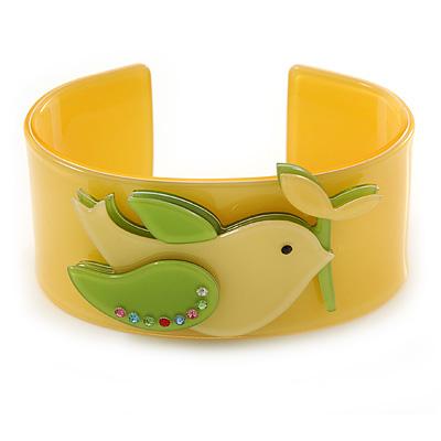 Yellow, Light Green Acrylic, Austrian Crystal Dove Cuff Bracelet - 19cm L