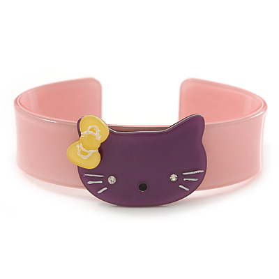 Light Pink, Purple Acrylic 'Kitty' Cuff Bracelet - 19cm L