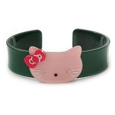 Dark Green, Pink Acrylic 'Kitty' Cuff Bracelet - 19cm L