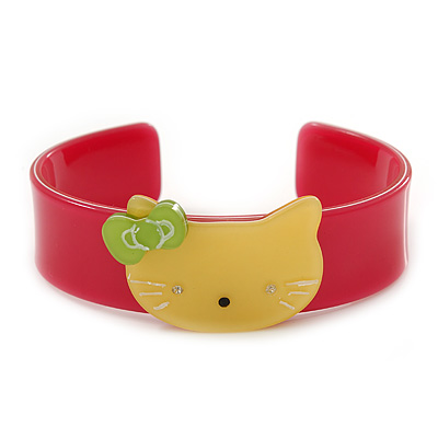 Magenta, Yellow Acrylic 'Kitty' Cuff Bracelet - 19cm L