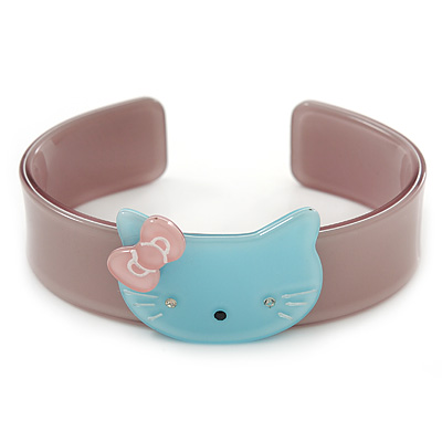 Beige, Light Blue Acrylic 'Kitty' Cuff Bracelet - 19cm L