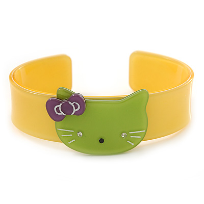 Yellow, Light Green Acrylic 'Kitty' Cuff Bracelet - 19cm L
