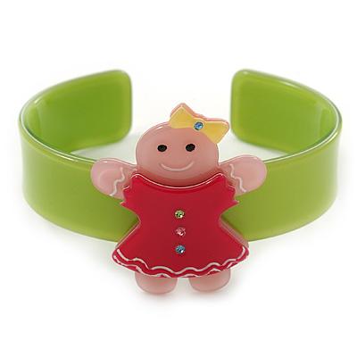 Light Green, Deep Pink, Light Pink Crystal Acrylic 'Gingerbread Girl' Cuff Bracelet - 19cm L