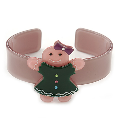 Beige, Pink, Dark Green Crystal Acrylic 'Gingerbread Girl' Cuff Bracelet - 19cm L - main view