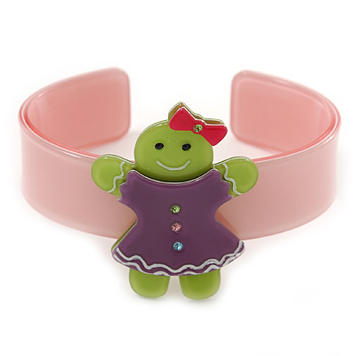 Light Pink, Purple, Light Green Crystal Acrylic 'Gingerbread Girl' Cuff Bracelet - 19cm L