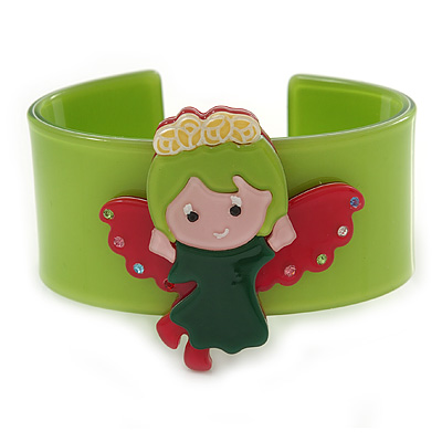 Light Green, Pink, Dark Green Acrylic, Austrian Crystal Wide Angel Cuff Bracelet - 19cm L