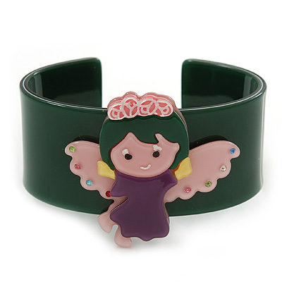 Dark Green, Pink, Purple Acrylic, Austrian Crystal Wide Angel Cuff Bracelet - 19cm L