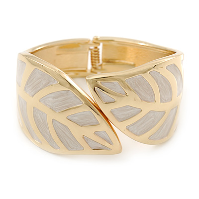 Magnolia Coloured Enamel 'Leaf' Hinged Bangle In Gold Plated Metal - 18cm Length