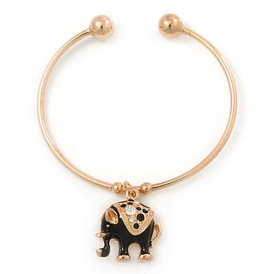 Gold Tone Slip-On Cuff Bracelet With A Black Enamel Elephant Charm - 19cm L