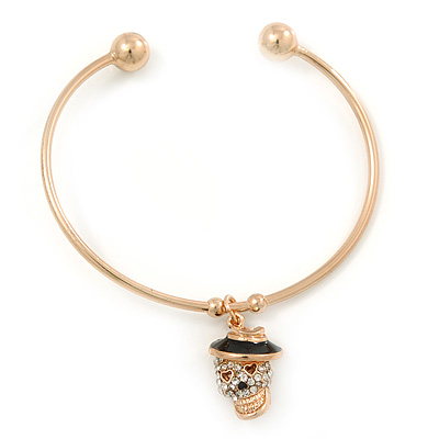 Gold Tone Slip-On Cuff Bracelet With A Skull In The Hat Charm - 19cm L - main view
