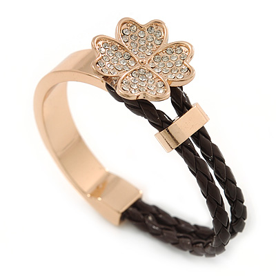 Clear Crystal Clover Bangle Bracelet With Brown Faux Leather Cord In Gold Tone - 17cm L