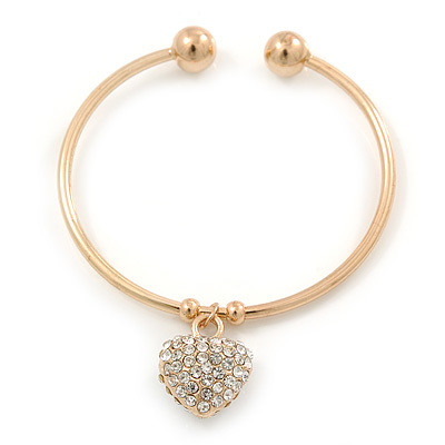 Gold Tone Slip-On Cuff Bracelet With A Crystal Heart Charm - 18cm L - main view