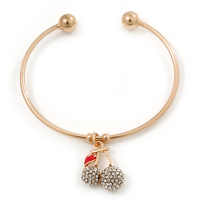 Gold Tone Slip-On Cuff Bracelet With A Crystal Double Cherry Charm - 18cm L