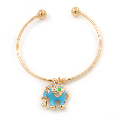 Gold Tone Slip-On Cuff Bracelet With A Light Blue Enamel Elephant Charm - 19cm L