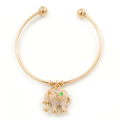 Gold Tone Slip-On Cuff Bracelet With A White Enamel Elephant Charm - 19cm L