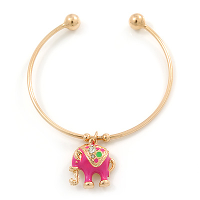 Gold Tone Slip-On Cuff Bracelet With A Deep Pink Enamel Elephant Charm - 19cm L