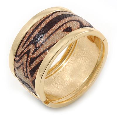 Wide 'Zebra Print' Hinged Bangle Bracelet In Gold Plating (Beige/ Black) - 18cm L