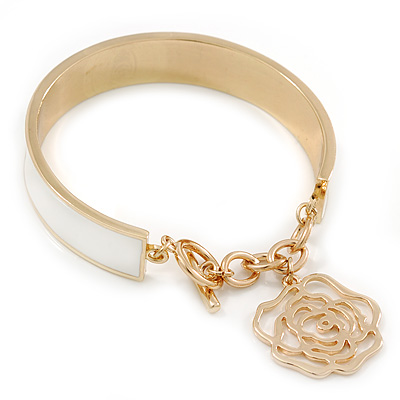White Enamel Bangle Bracelet With Rose Charm and T-Bar Closure In Gold Plating - 19cm L